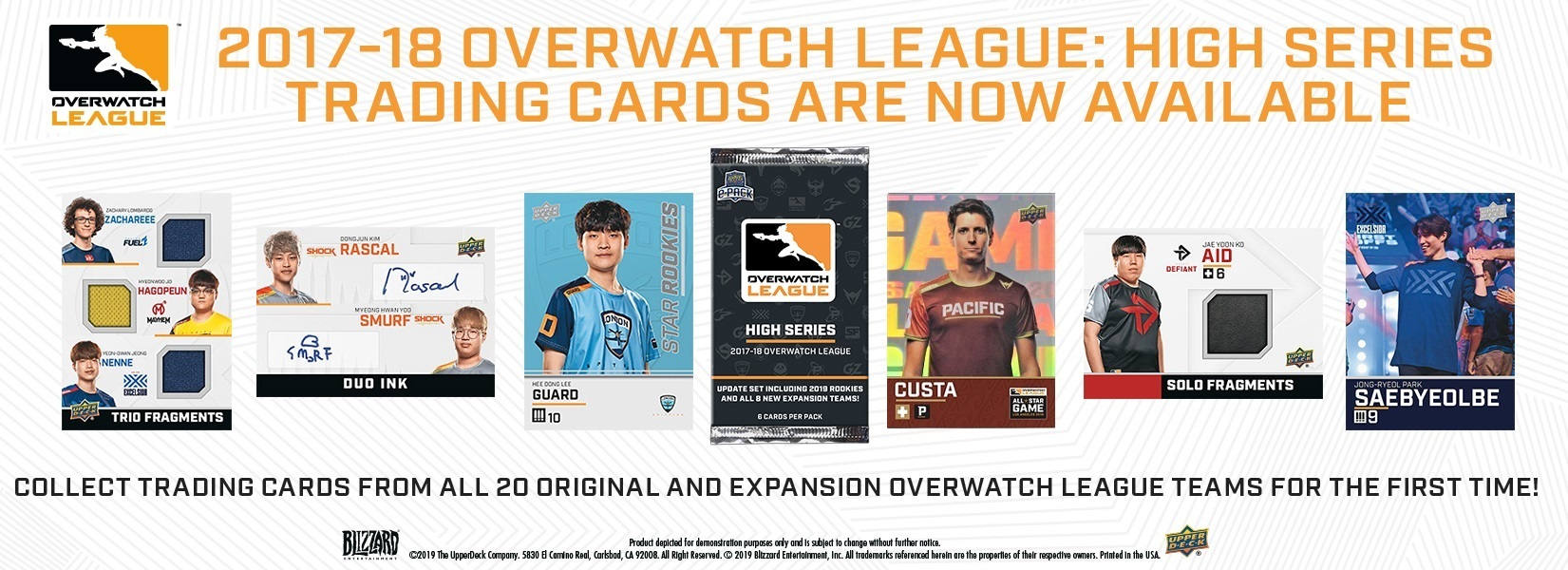 Individual players in the Overwatch League are spotlighted in an Upper Deck trading card series